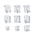 contract linear icons vector image