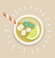 cup of cold iced lemon tea with straw vector image