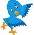 cute blue bird cartoon vector image vector image
