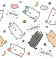 cute cat kitten sleeping cartoon seamless pattern vector image