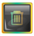 delete grey square icon with yellow and green vector image vector image