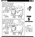differences educational game with cow on pasture vector image vector image