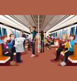different people inside crowded subway vector image