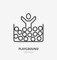 flat line icon of happy kid jumping in ball pool vector image vector image