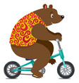 funny circus bear on bicycle vector image