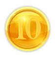 gold coin value 10 cartoon vector image
