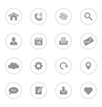 Gray simple flat icon set 1 with circle frame vector image vector image