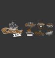 happy columbus day logo sign flat set vector image vector image