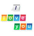 I love you on stickers vector image vector image