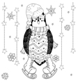Ice skating penguin doodle vector image