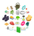 inside icons set isometric style vector image vector image