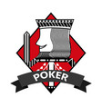 king of diamond card poker ribbon symbol vector image vector image
