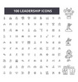 leadership editable line icons 100 set vector image vector image