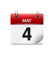 May 4 flat daily calendar icon Date and vector image
