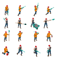 Miner People Isometric Icons Set vector image vector image