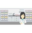 Pharmacist giving pills and glass of water vector image vector image