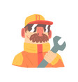pit stop technician worker in an orange uniform vector image