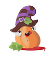 pumpkin hat halloween funny cartoon vector image vector image