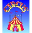 red and yellow line art drawing of circus tent on vector image