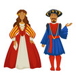 renaissance style couple ancient fashion ball vector image vector image