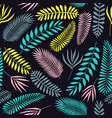 seamless pattern of tropical leaves in flat style vector image