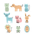 set of cute cartoon animals bear dog cat deer vector image vector image