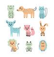 set of cute cartoon animals bear dog cat deer vector image