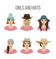 set of girls and hats vector image