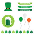 set of st patricks day flat design elements icons vector image vector image