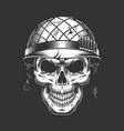 skull in soldier helmet monochrome concept vector image vector image