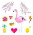 Summer pink flamingo clipart icon set vector image vector image