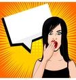 Surprised brunette girl pop art dot vector image