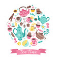 tea time circle composition vector image vector image
