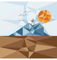 Triangle landscape with mountainbirds and sun vector image vector image