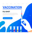 vaccination concept doctors hand with a syringe vector image