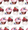 Watercolor Seamless pattern blueberries cupcakes vector image vector image