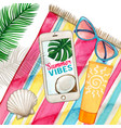 watercolor smartphone on beach towel with glasses vector image vector image