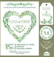 wedding invitation setgreen watercolor branches vector image vector image