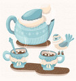 winter with teapot mugs and bird vector image vector image