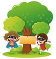 wooden sign on the tree and two girls vector image vector image