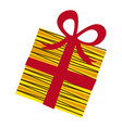 yellow box gift with red ribbon vector image vector image