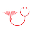 stethoscope and a heart beats vector image