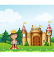 A king in front of his castle vector | Price: 1 Credit (USD $1)