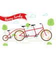 banner happy family red bicycle bike rides in vector image