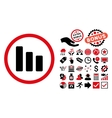 Bar Chart Decrease Flat Icon with Bonus vector image vector image