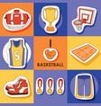 basketball sport sticker sportswear medal cup net vector image vector image