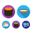 bowl of soup caviar shrimp with rice sushi set vector image vector image