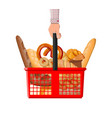 bread icons and shopping basket in hand vector image vector image