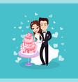 bride and groom cutting dessert wedding vector image vector image
