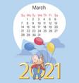 bull march 2021 calendar funny calf balloons vector image vector image